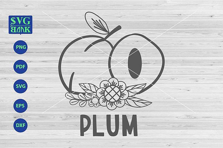 Plum svg, Plum with flower svg, png, dxf, cut
