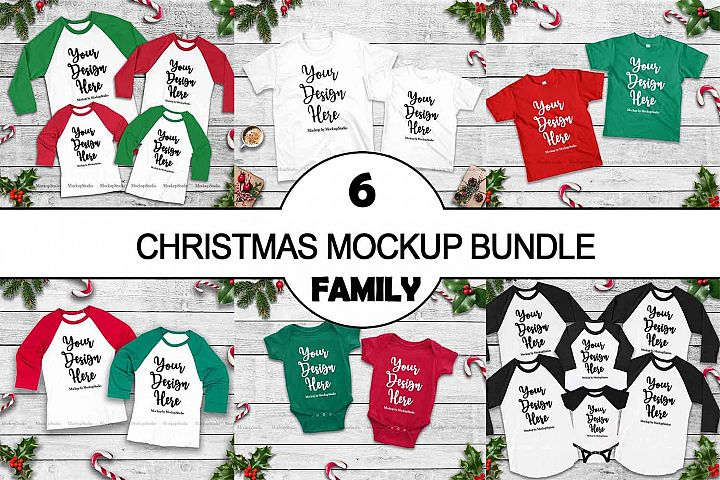 Christmas Matching Family Tshirt Mockup Bundle, Mommy and Me