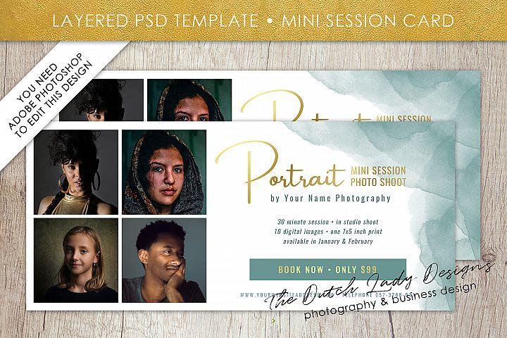 PSD Photo Mini Session Card Template - Design #30