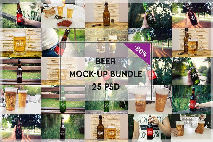 Beer Glass and Bottle Mock-up Bundle #1