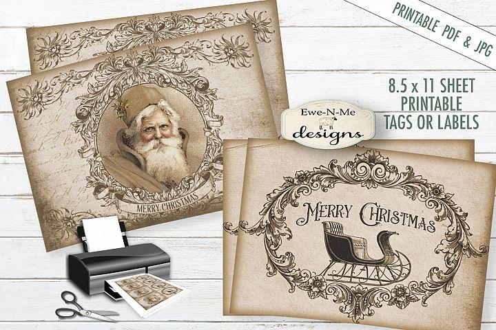 Printable Christmas Tags - Sepia Christmas Tags - PDF & JPG