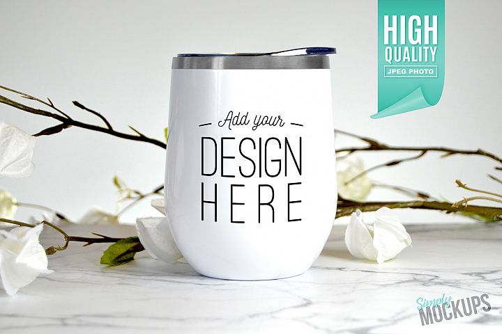 White 12oz Wine Tumbler Mockup