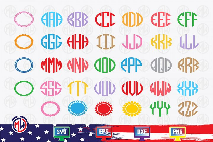 Oval alphabet & frame SVG, EPS, DXF, PNG for Cricut and More