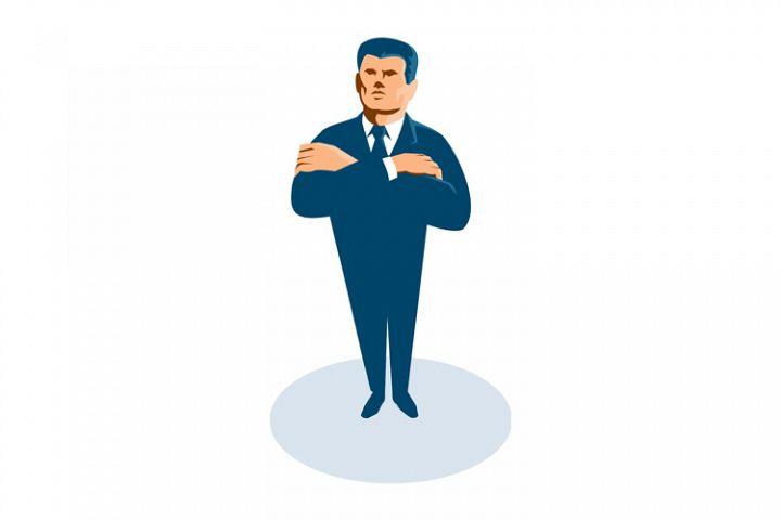 businessman secret agent arms crossed