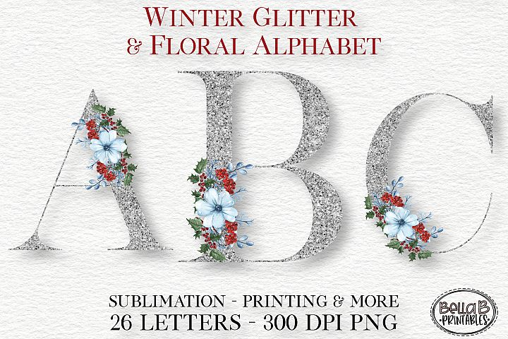 Winter Glitter Floral Alphabet Set, Sublimation Alphabet