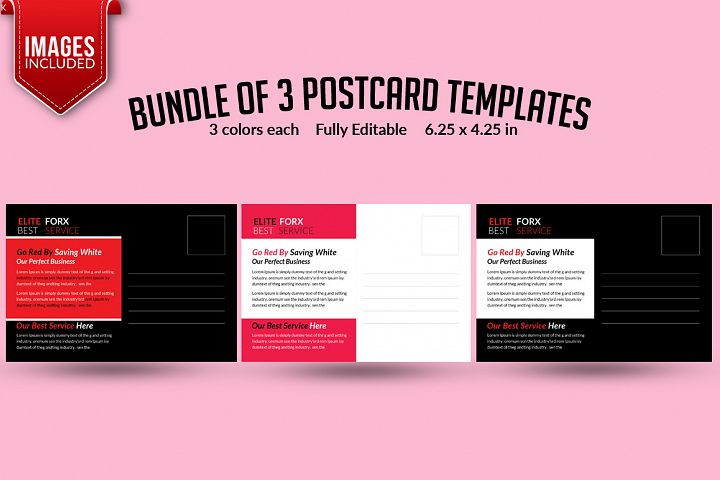 Bundle of 3 PostCards Templates