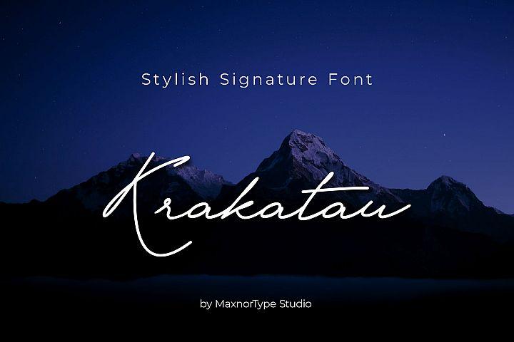Krakatau Monoline Signature Font