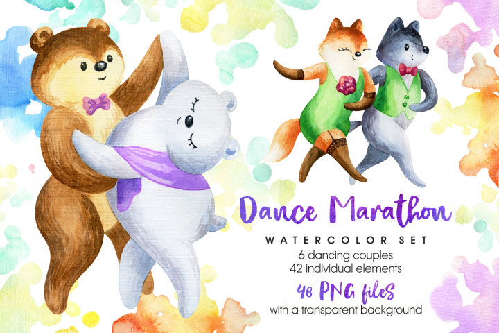 Dance Marathon. Watercolor animals set