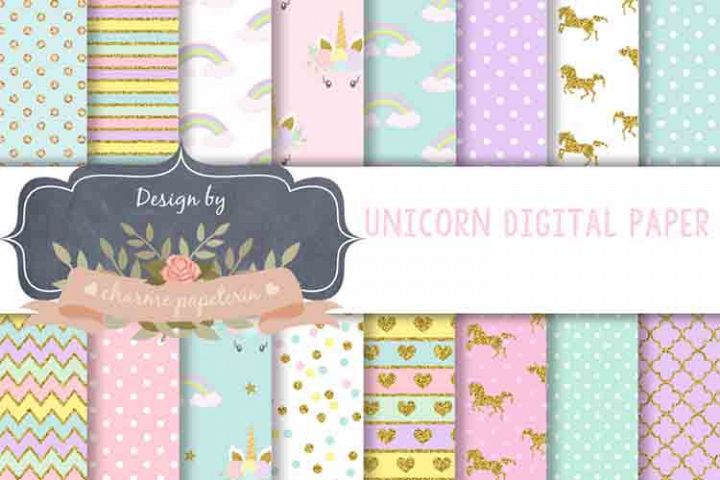 Unicorn Digital Paper, Rainbow, Gold, Glitter, hearts