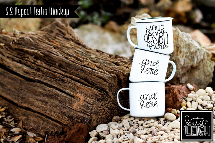Three Stack Campfire Mug Beach Camping Mockup