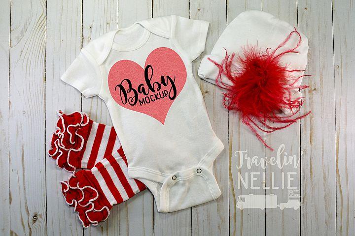 Baby Girl Fancy Theme White Blank Bodysuit Mockup Flat Lay