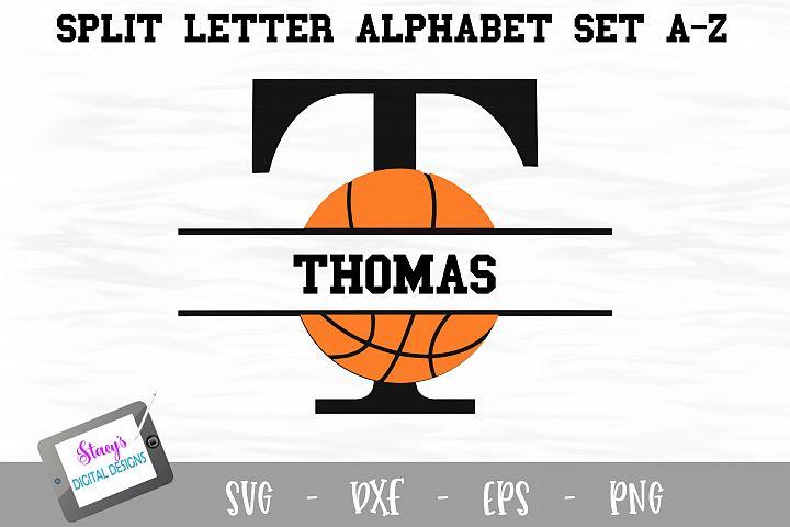 Split Letters A-Z - 26 Split Monogram basketball SVG files