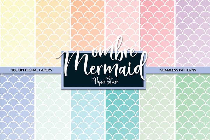 Ombre Pastel Mermaid Scallop Digital Paper