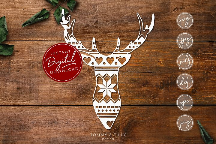 Pattern Stag Head - SVG EPS DXF PNG PDF JPG