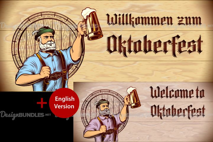 Vector Flyer Invite Copyspace Beer Glass Oktoberfest Man