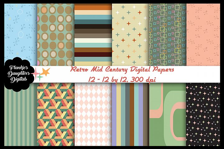 Retro Mid Century Atomic Age Large Pattern Digital Papers