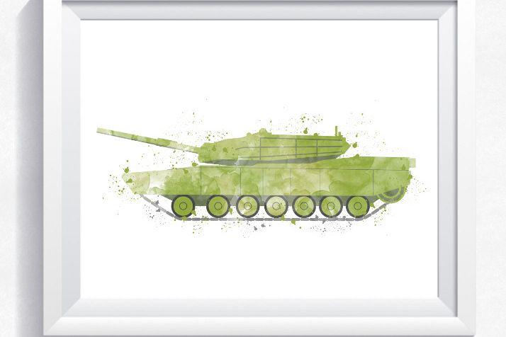Watercolor TANK print, military tank printable, army tank wall art, military vehicle print, army vehicle printable