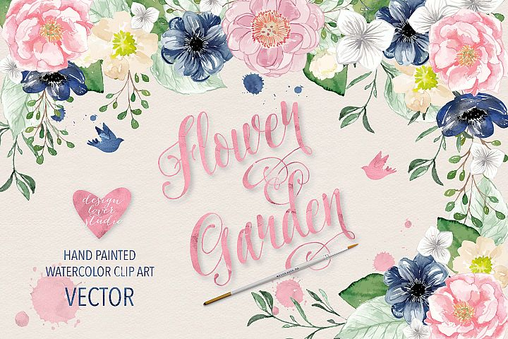 Vector Watercolor Navy blue and Pink Flower Garden clipart - Free Design of The Week Font