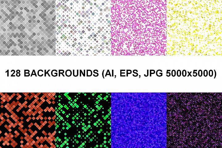128 Seamless Square Backgrounds (AI, EPS, JPG 5000x5000)