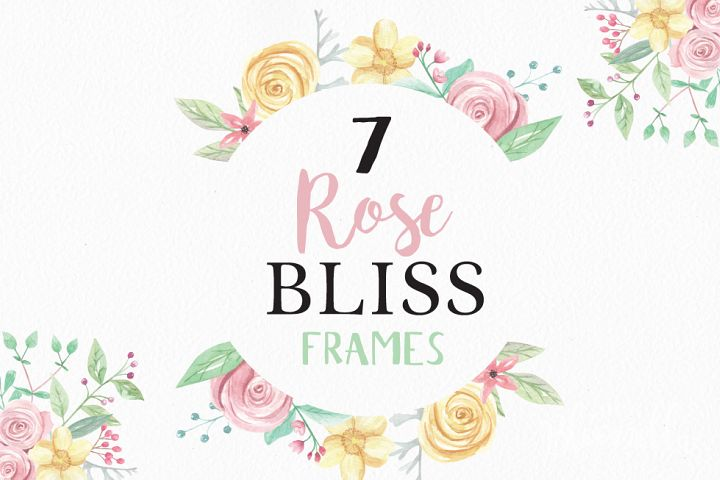 Rose Bliss 7 Frames Watercolor Floral Border Flowers Pink