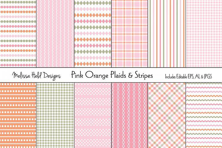Pink and Orange Plaids & Stripes