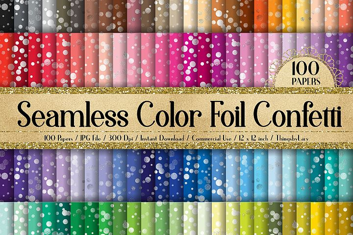 100 Seamless Color Metallic Foil Confetti Digital Papers