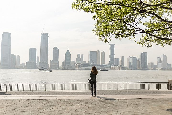 Girl on pier in Manhattan