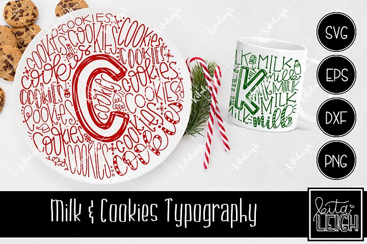 Christmas Milk and Cookies Typography