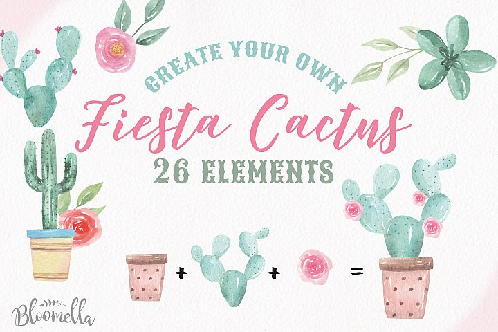 Watercolor Create Your Own Cactus Pots Succulents Elements