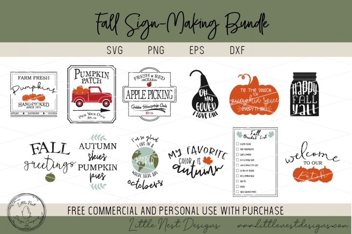 Fall Sign SVG Bundle - Farmhouse Sign Bundle