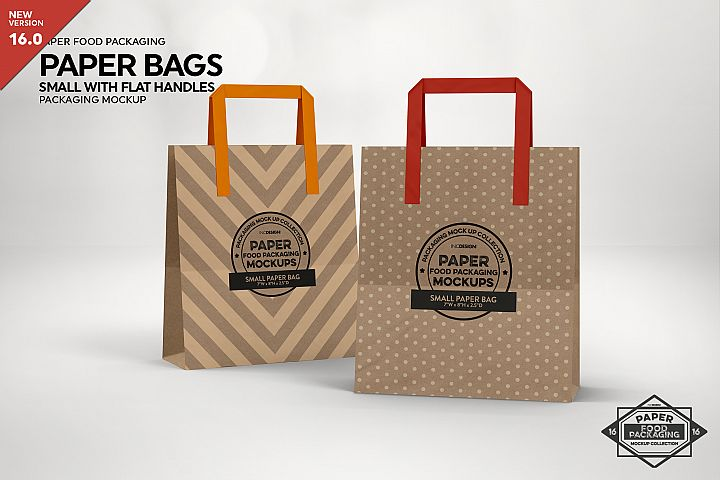 SMALL Paper Bag with Flat Handles Packaging MockUp