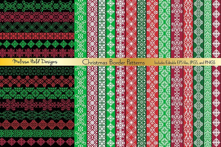 Red and Green Ornate Border Patterns