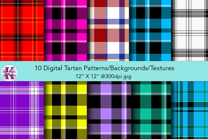 10 Digital Tartan Patterns/Backgrounds/Textures - JPG