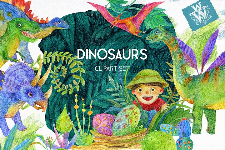 Watercolor Dinosaurs clipart, dino Jurassic park clip art