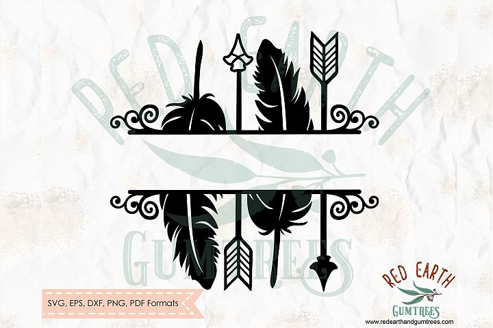 Arrows and feathers split monogram frame in SVG,DXF,PNG,EPS