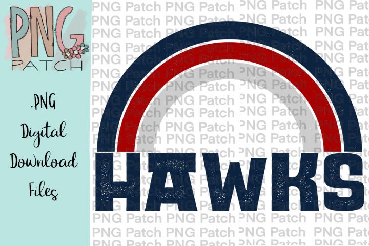 Navy and Red Hawks Rainbow Football Tailgating PNG File