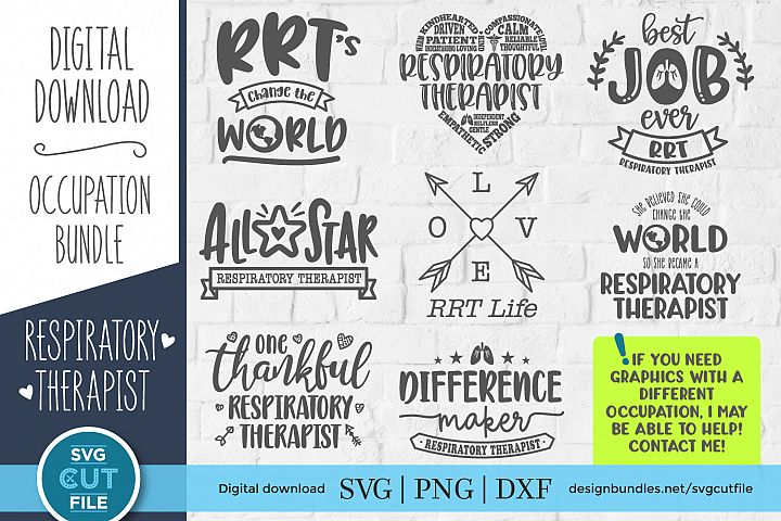 Respiratory therapist svg bundle - RT svg files for crafters