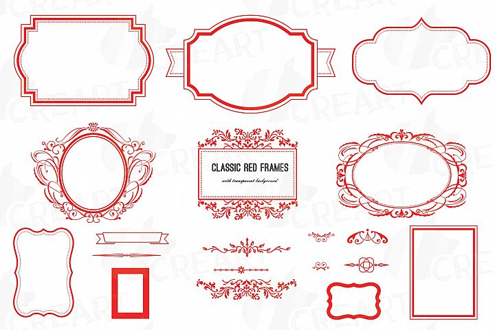Classic red frames, printable Christmas borders clip art pac
