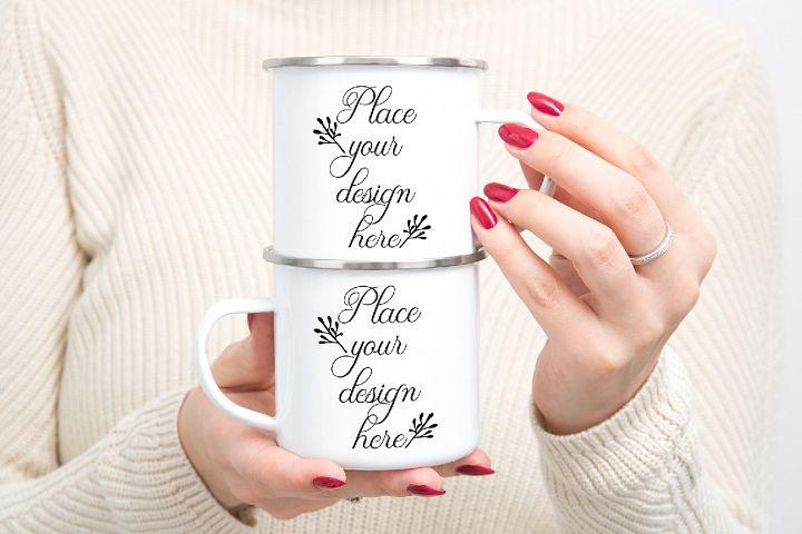 Enamel mug mockup woman holding two Camp sublimation mugs