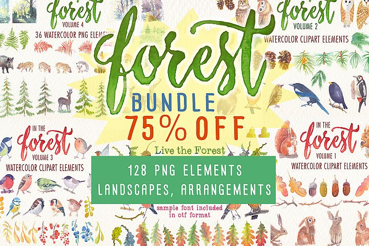 forest bundle watercolor clipart