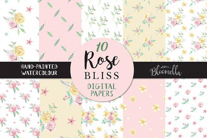 Rose Bliss Flower Patterns Digital Papers Pink Wedding