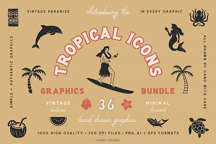 Tropical Icons Hand Drawn Graphics