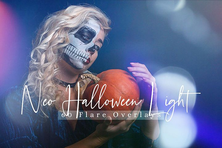 60 Neo Halloween lights Effect Photo Overlays