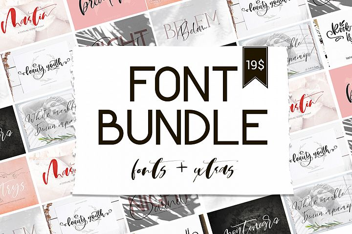 Font Bundle.Fonts & Extras