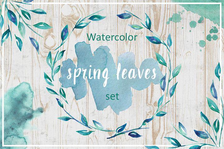 Watercolor spring leaves set