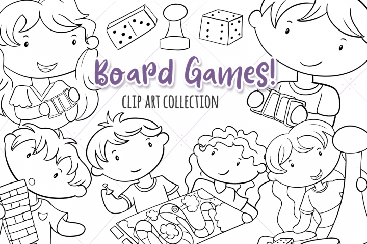 Kids Playing Board Games Digital Stamps
