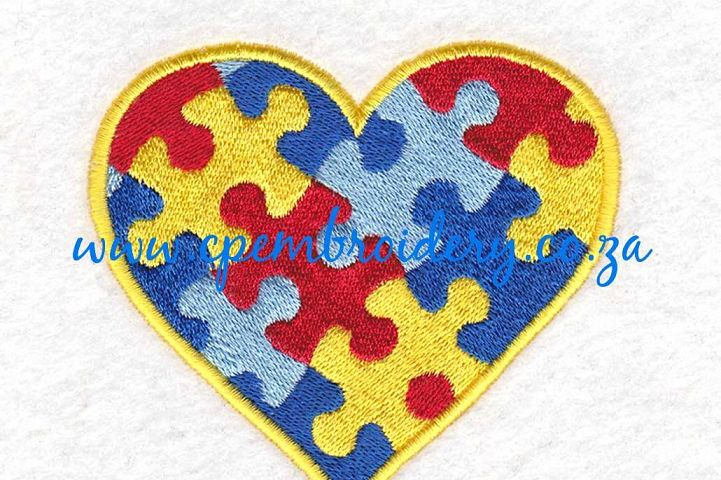 Heart Puzzle Detail Machine Embroidery Design