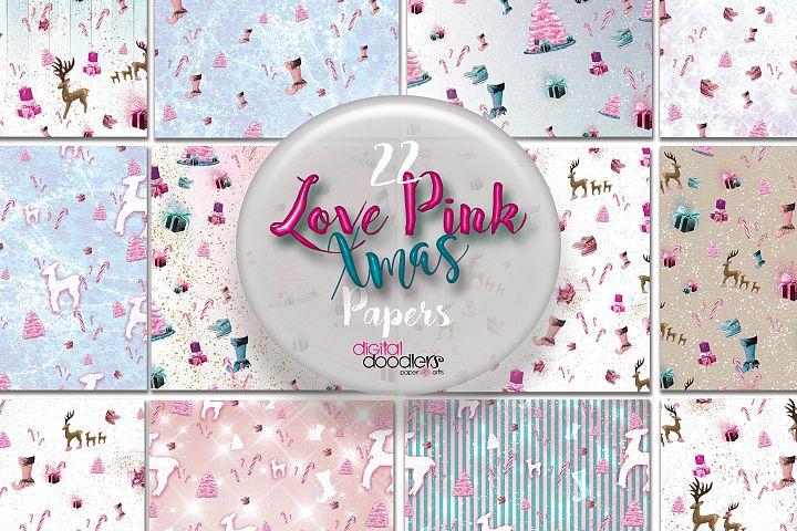 Love Pink Xmas Digital Paper
