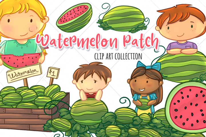 Watermelon Patch Clip Art Collection example