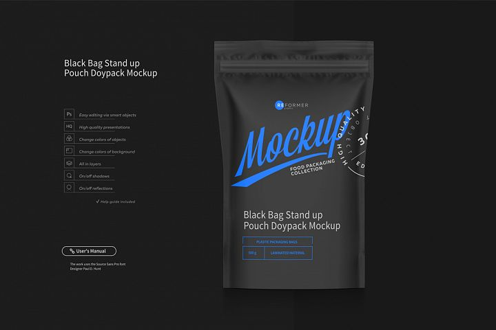 Black Bag Stand up Pouch Doypack Mockup